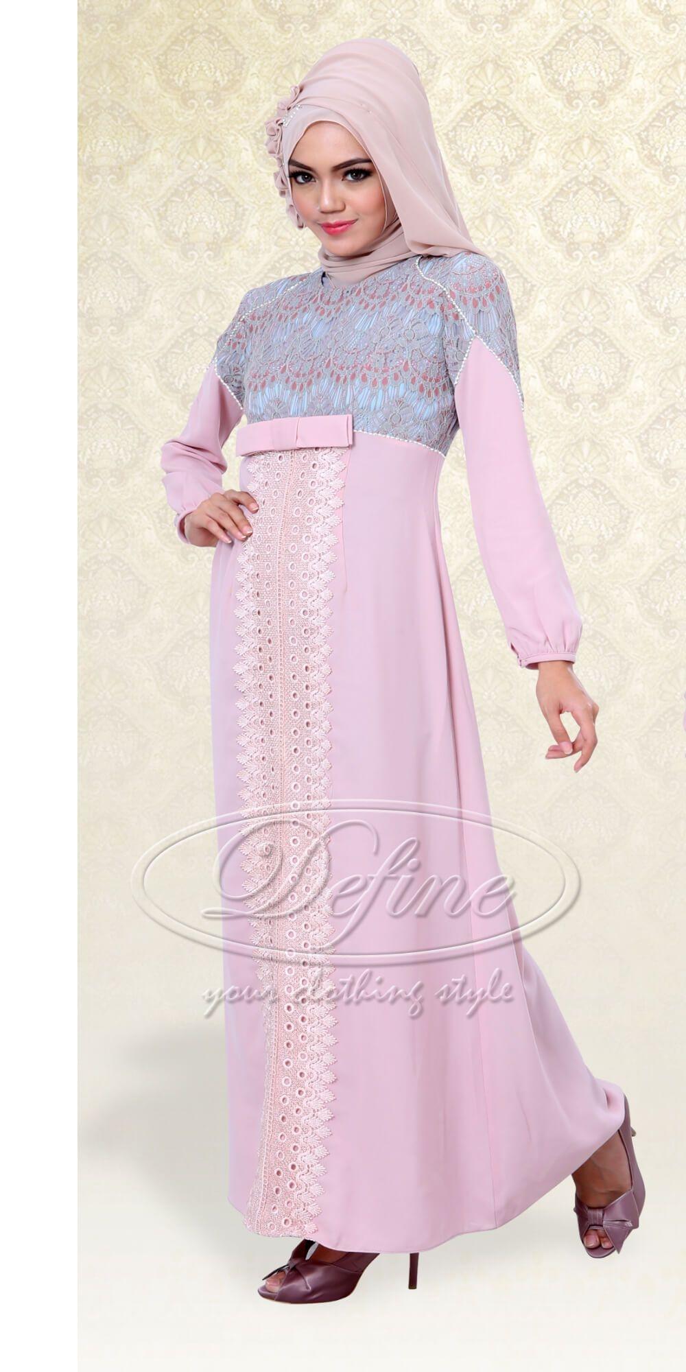 Dress pink dengan brokat