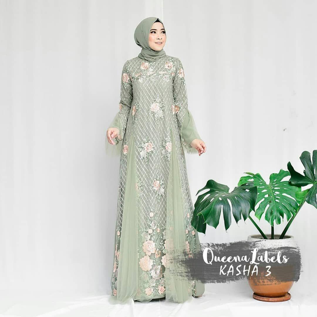 Gaun cantik warna hijau