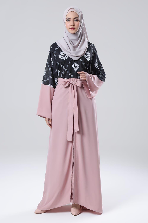 Satin abaya pink