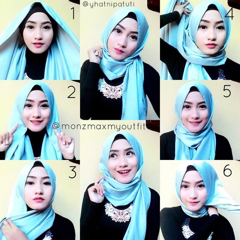 tutorial hijab pashmina satin simple untuk ke pesta