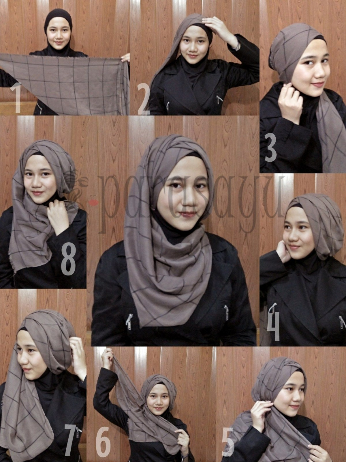 tutorial hijab pashmina simple dengan bahan paris