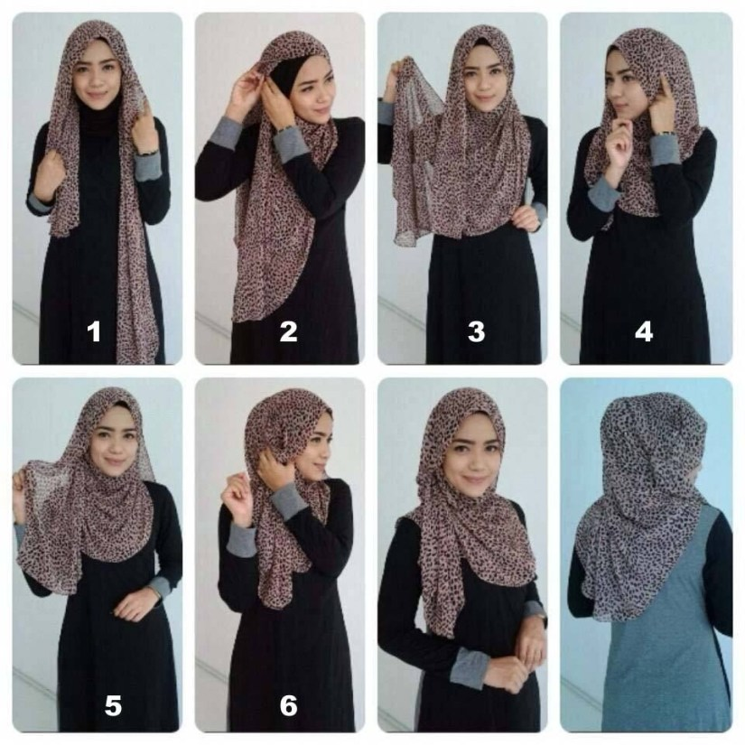 Tutorial hijab pashmina simple dengan motif