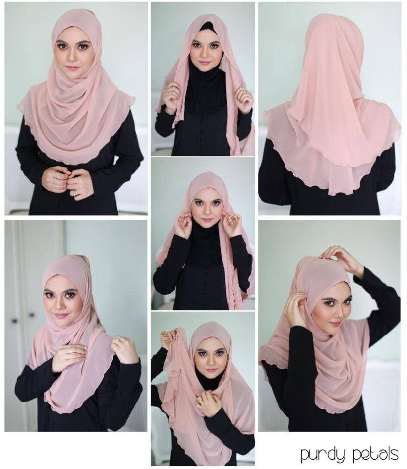 Tutorial hijab pashmina simple yang anggun