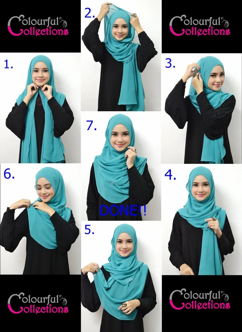 Tutorial hijab pashmina simple yang menarik