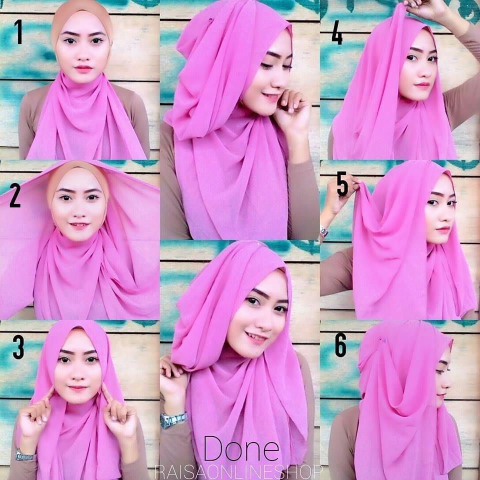 Tutorial hijab pashmina simple yang modis