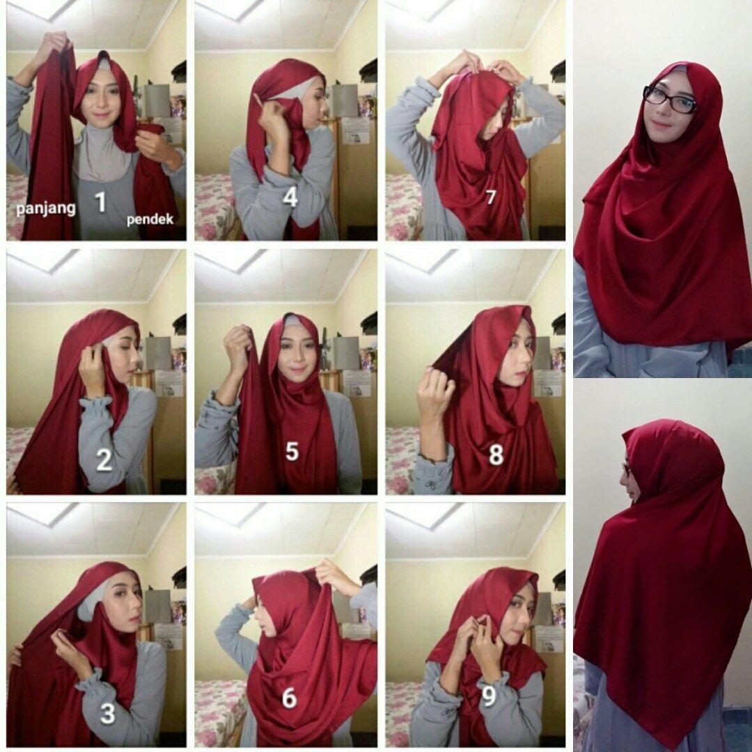 tutorial hijab segi empat pesta syari