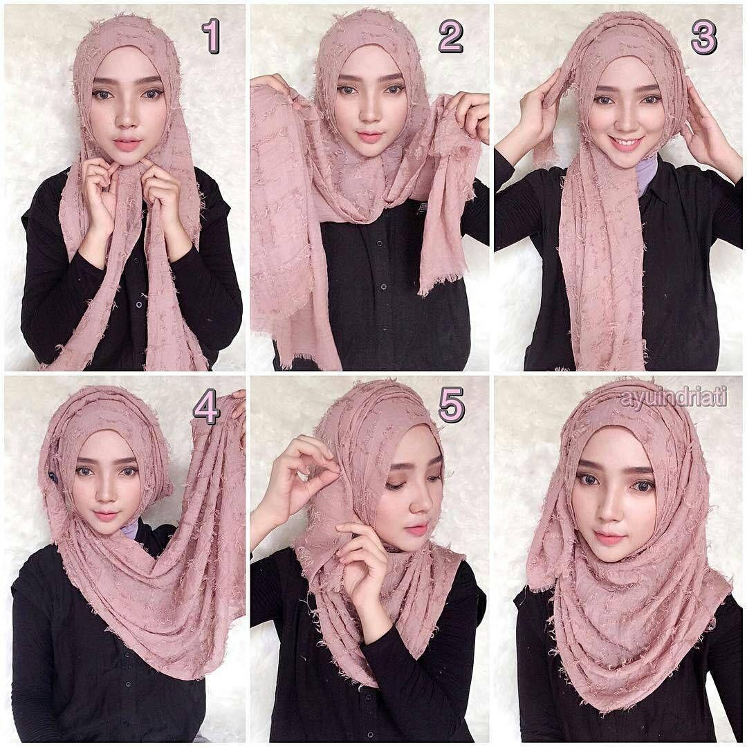 tutorial hijab segi empat tumpuk