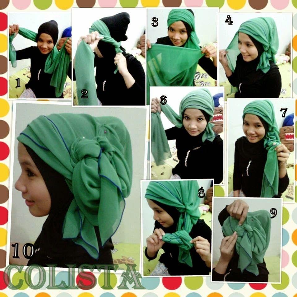 tutorial hijab segi empat untuk kebaya