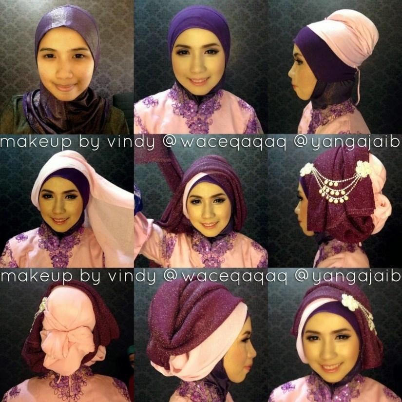 tutorial hijab segi empat untuk kebaya yang cantik