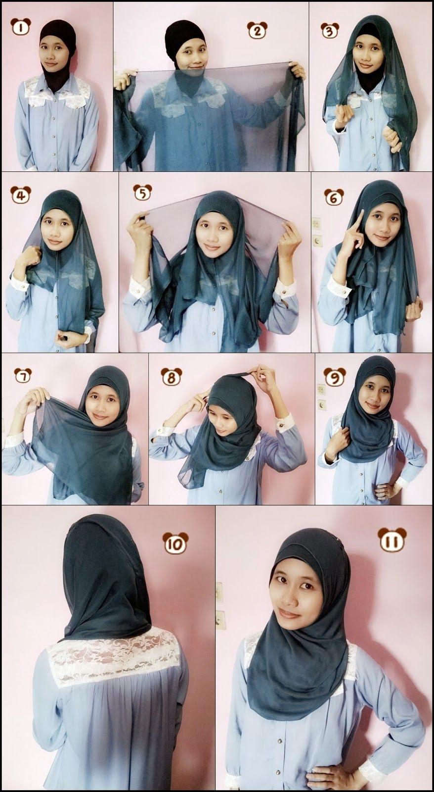 tutorial hijab segi empat untuk sehari hari