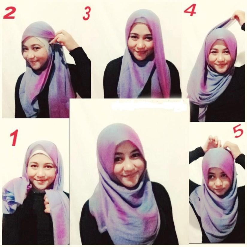 tutorial hijab segi empat wajah bulat