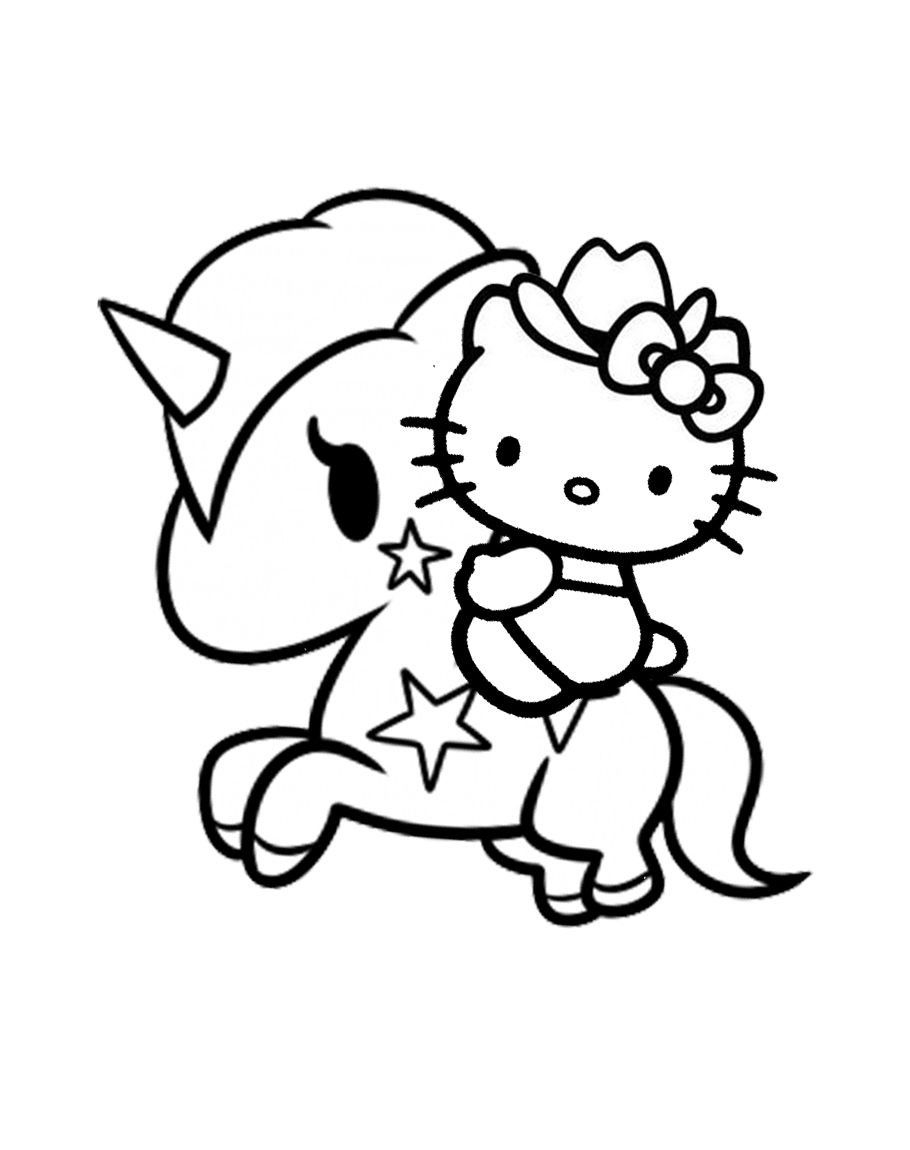 unicorn kitty coloring page youngandtae hello kitty