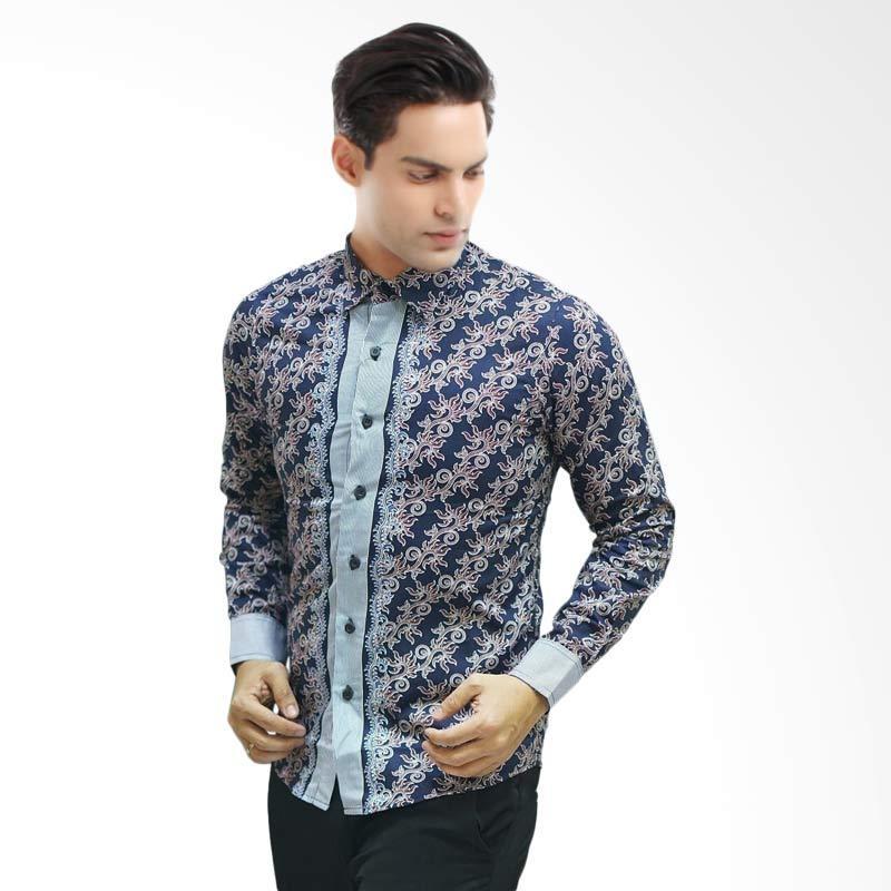 baju batik pria lengan panjang warna biru kumpulan model