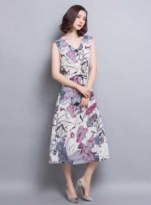 baju dress panjang tanpa lengan modern model v neck a3246