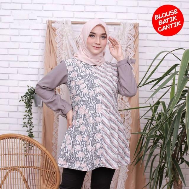 blouse amira kombinasi batik abu blus lengan panjang