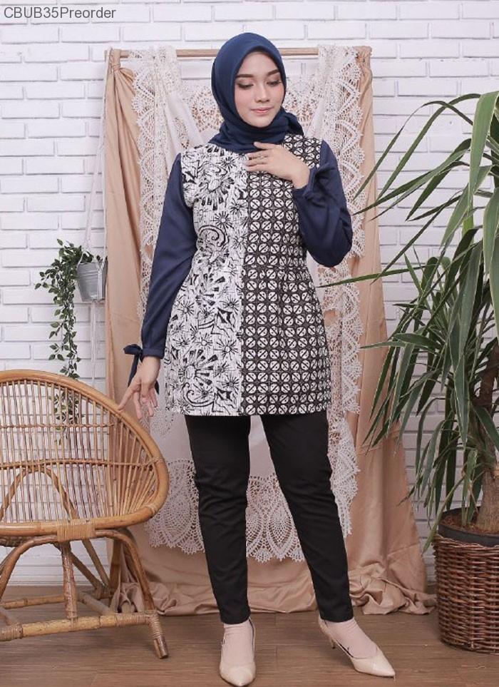 blouse amore kombinasi batik navy blus lengan panjang