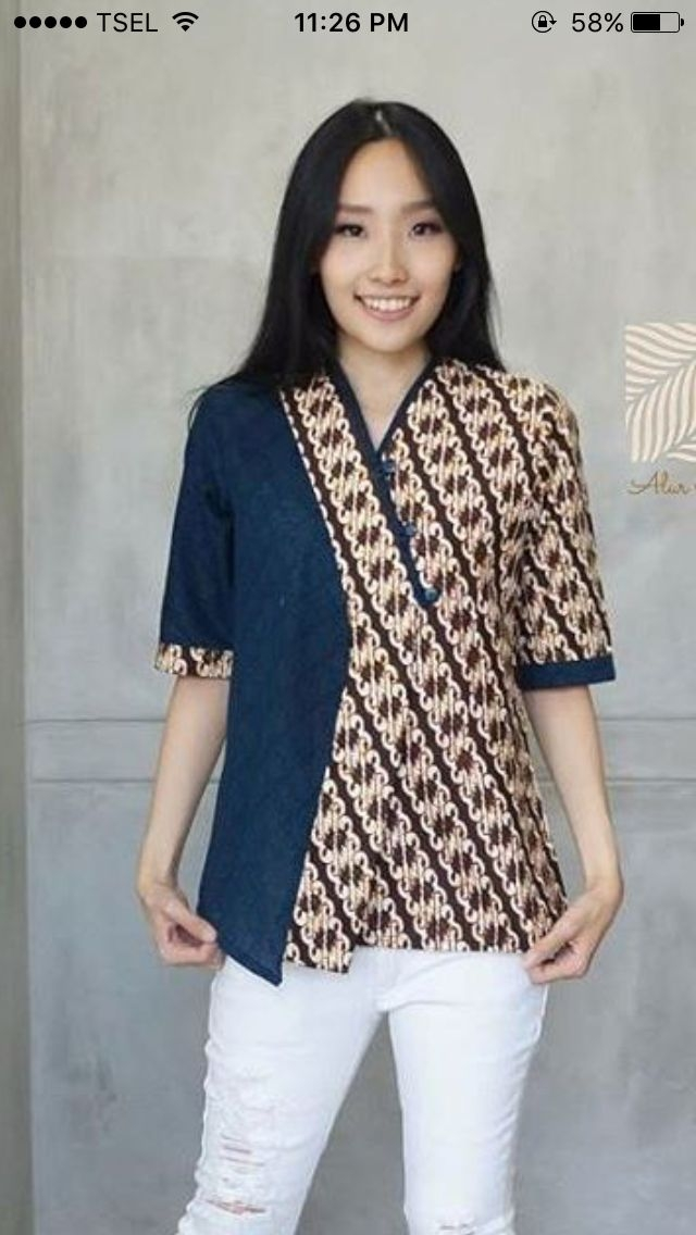 blouse bella from rianty batik in blue mykinglist