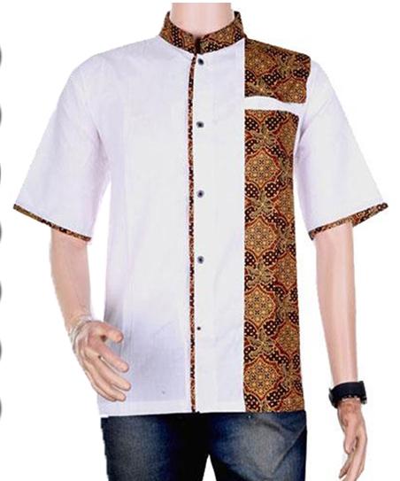 busanamuslim 5 baju koko batik kombinasi polos