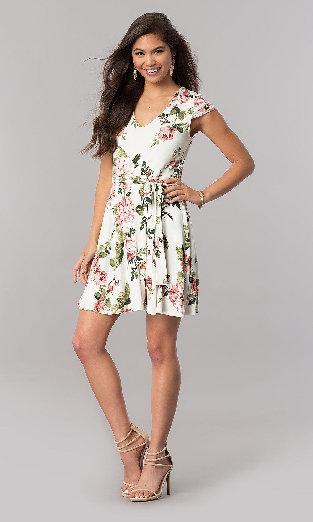 cap sleeve cheap short casual print dress promgirl