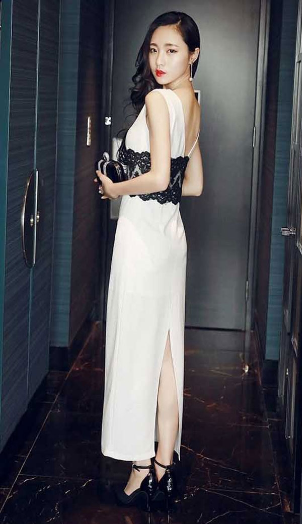 dress panjang cantik model terbaru kombinasi brokat da376