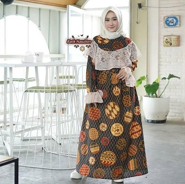 gamis batik kombinasi brokat modern 2019 hijab muslimah