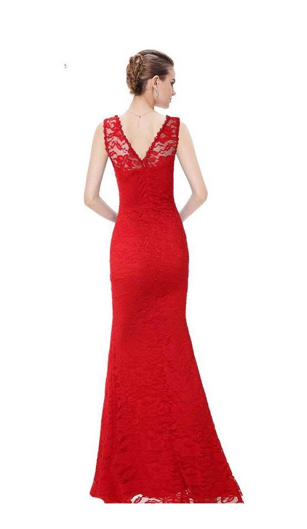 gaun pesta panjang simple warna merah tanpa lengan bahan