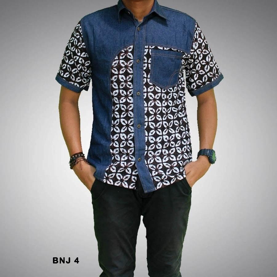 inspirasi model baju batik pria lengan pendek kombinasi