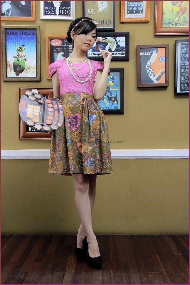 model baju batik kombinasi modern model pakaian gaun