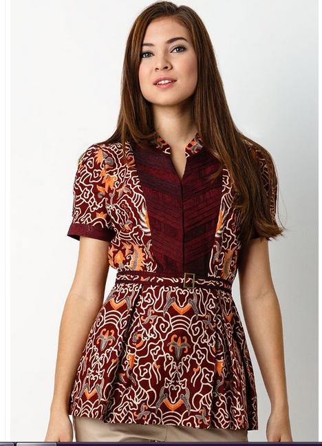 model baju batik wanita lengan pendek modern