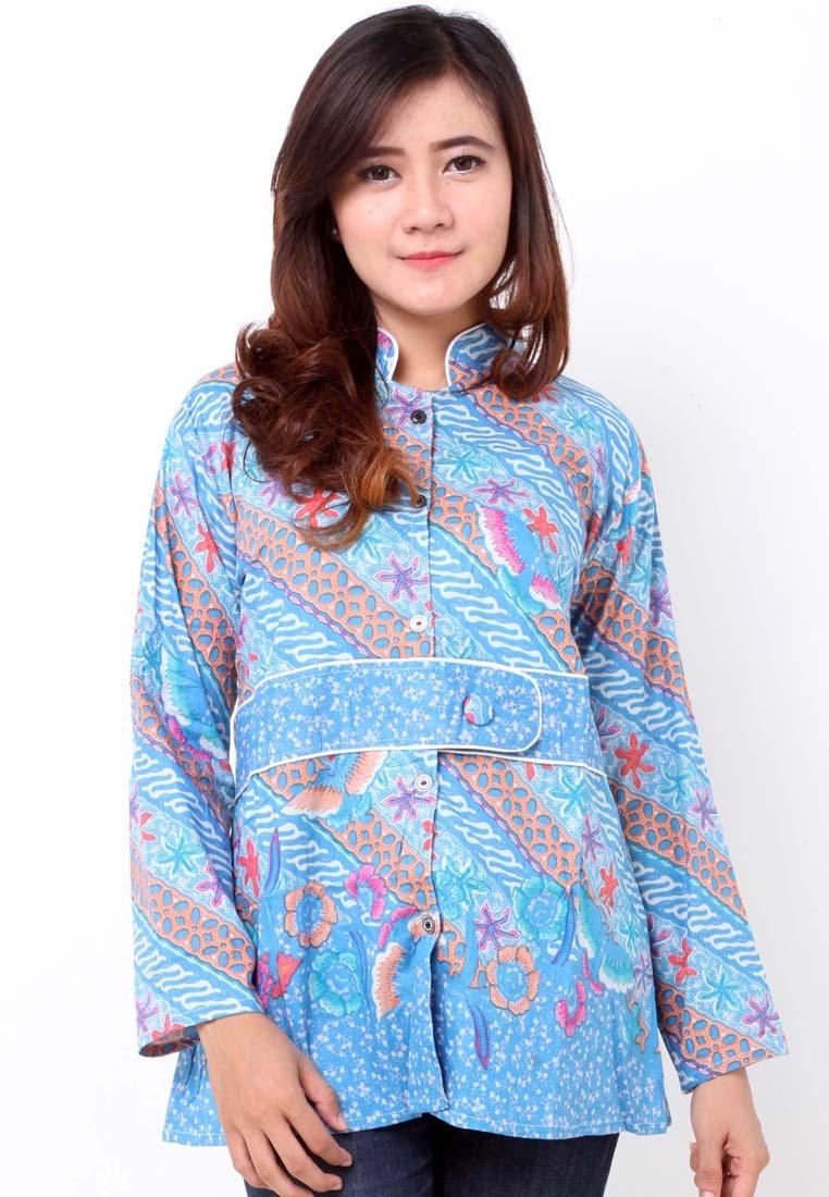model baju batik wanita warna biru ananta batik