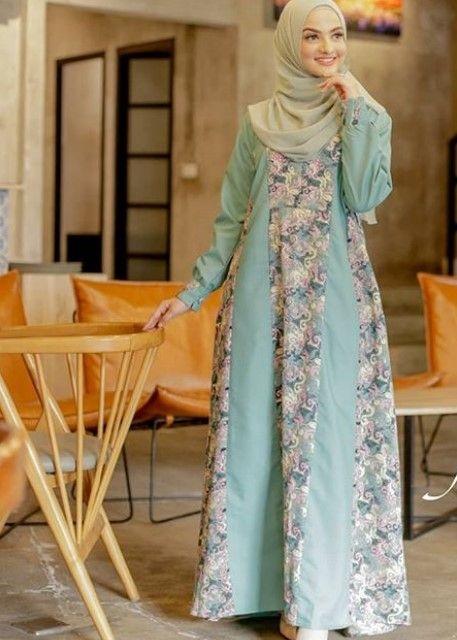 model gamis batik kombinasi kain polos 2021 newsjabar