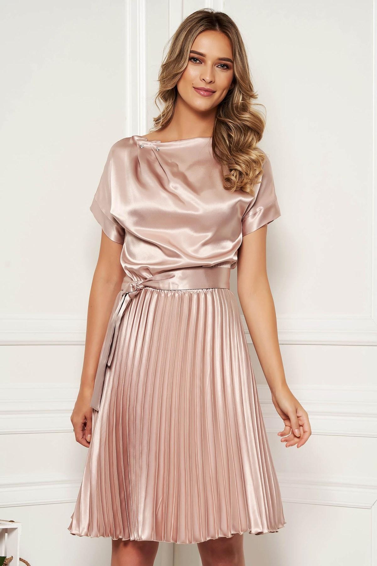 starshiners cream dress elegant cloche midi from satin