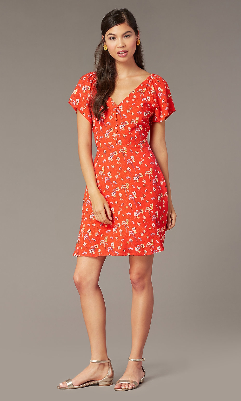 v neck print short casual dress with short sleeves