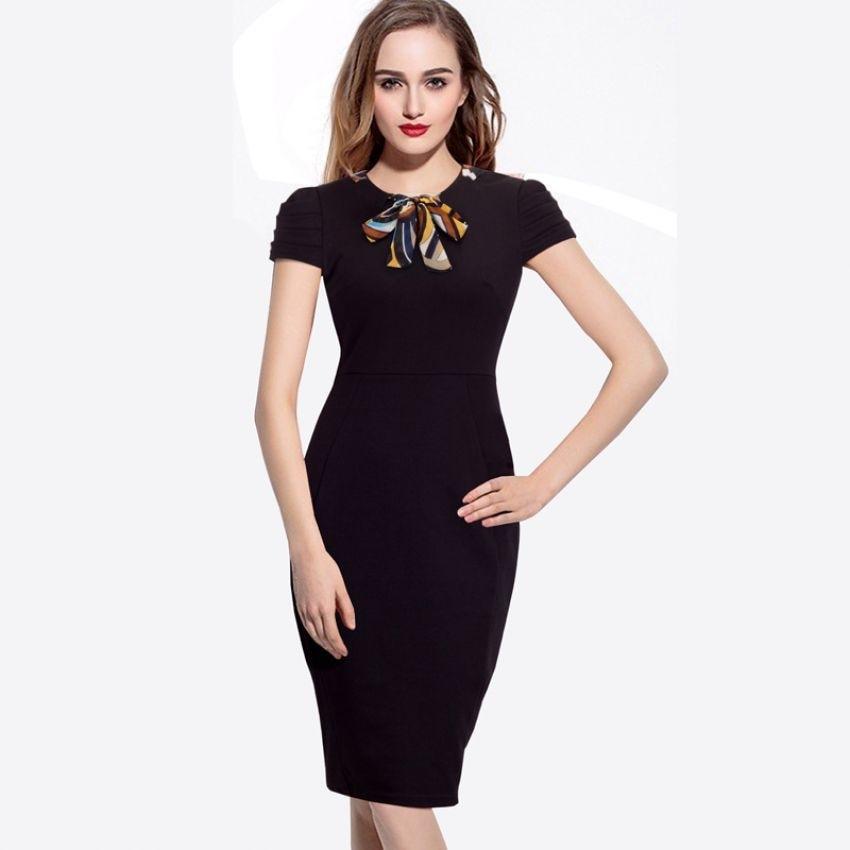 womens elegant slim casual work black office dress