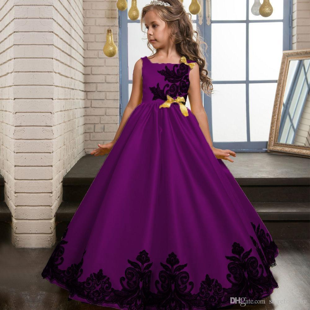 2019 sleeveless girls kids puff dresses silk birthday