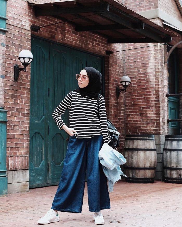 25405 8 style selebgram hijab memakai celana kulot panjang