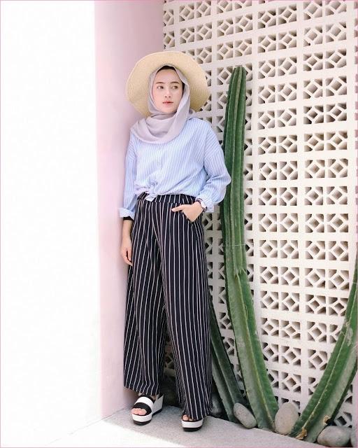 32 pilihan outfit celana kulot untuk hijabers ala