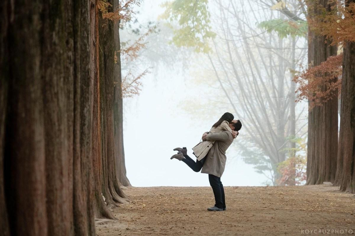 an autumn surprise proposal at nami island south korea