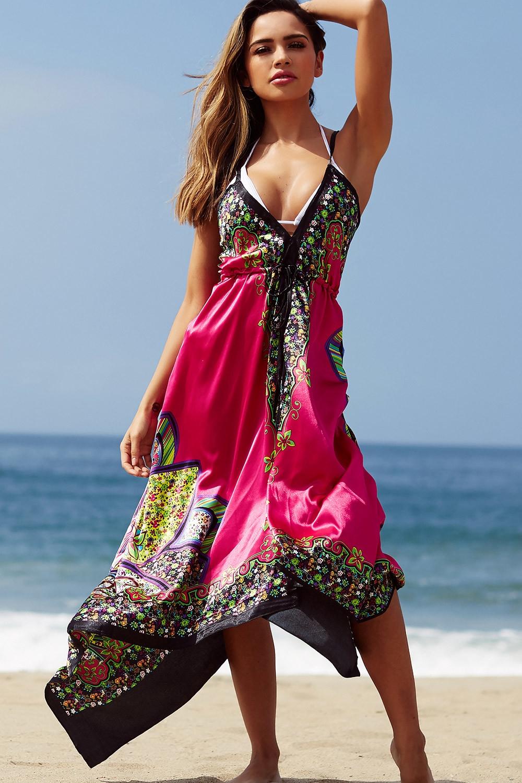 bahama mama fuchsia boho print beach dress