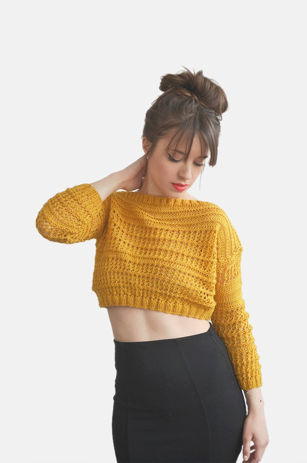 crop top sweater in mustard yellow hand knit cotton top