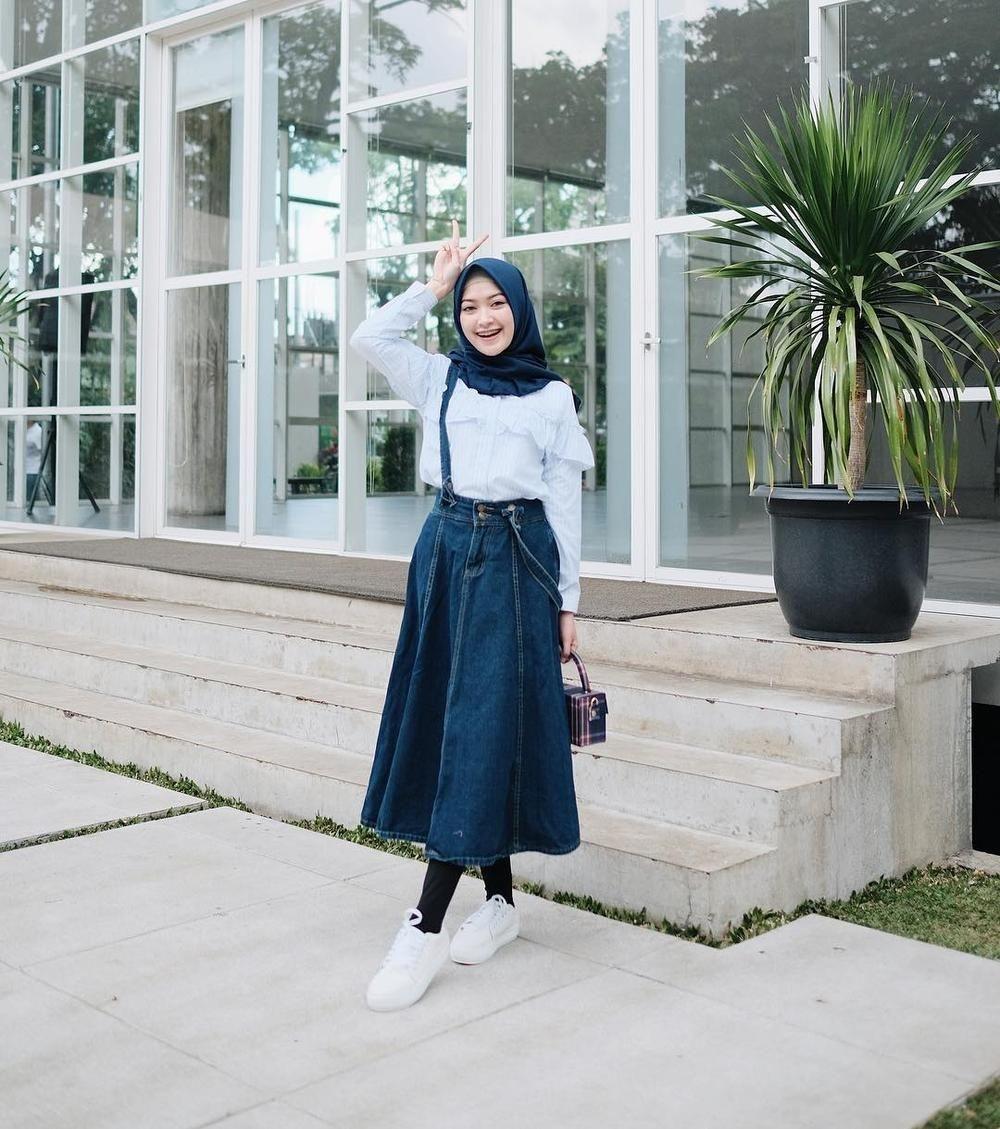 fashion hijab rok jeans pendek jilbab gallery
