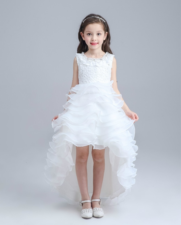 glitz white princess children flower girl dresses for