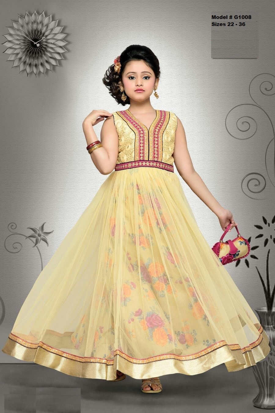 gold floral design long party wear gown dress for kids