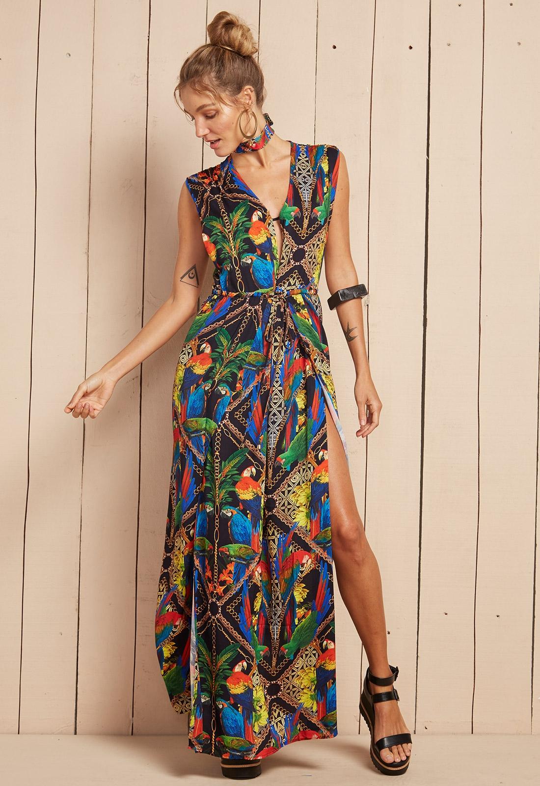 maxi dresses long flowing tropical print beach dress