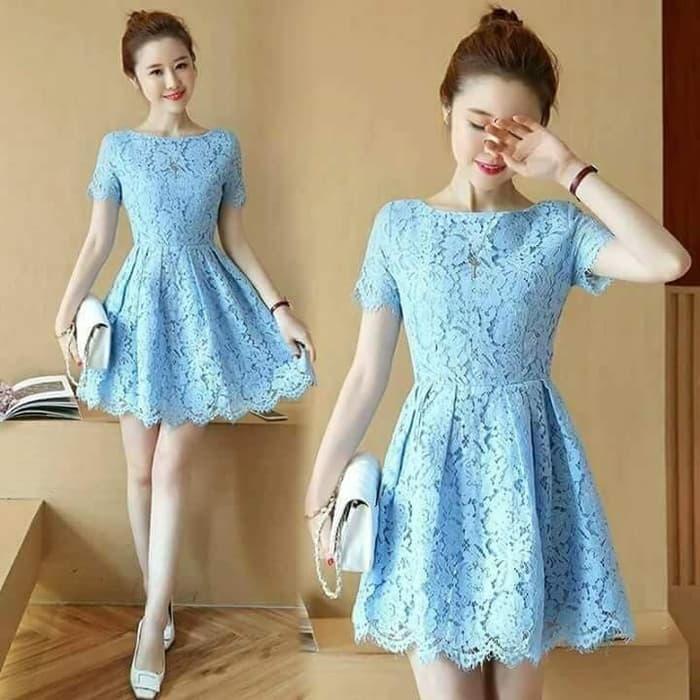 model baju mini dress pendek pesta bahan brukat ryn fashion