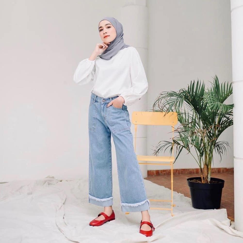 ootd hijab jeans kulot