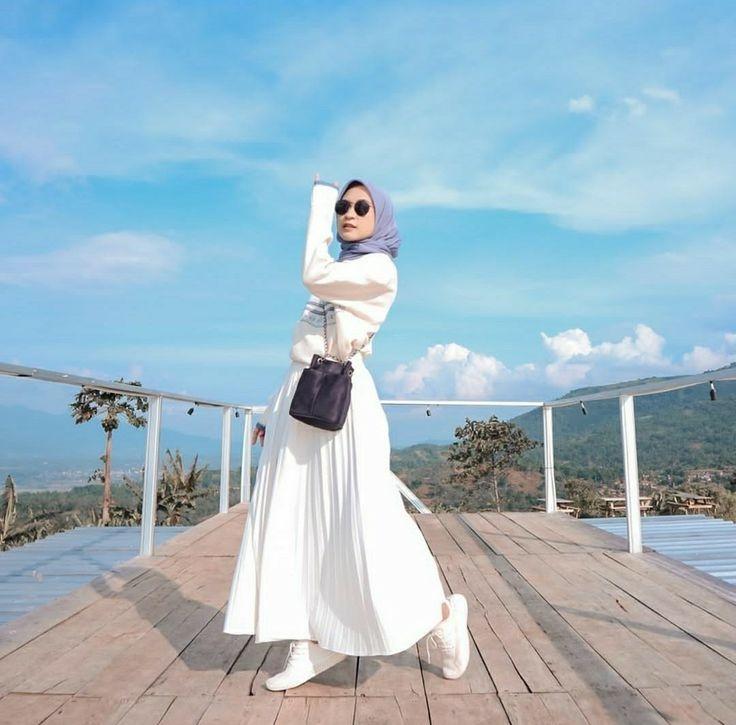 ootd rok putih model pakaian hijab gaya hijab gaya