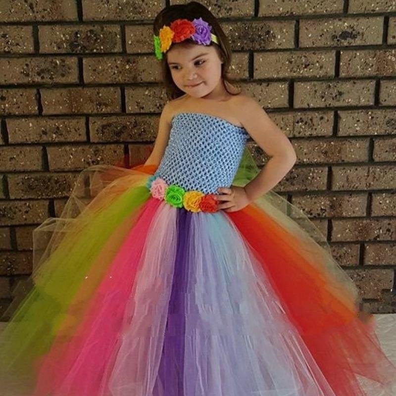 rainbow theme candy ba girls tutu dress for birthday