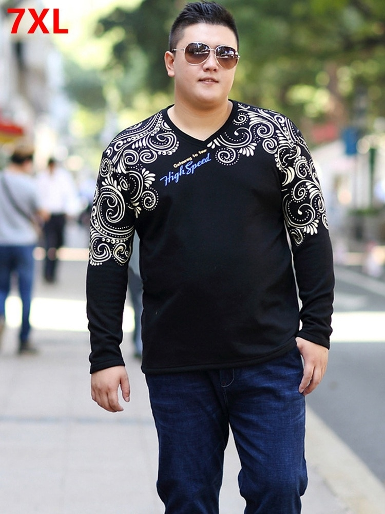 spring plus size big size mens clothing t shirt fat loose