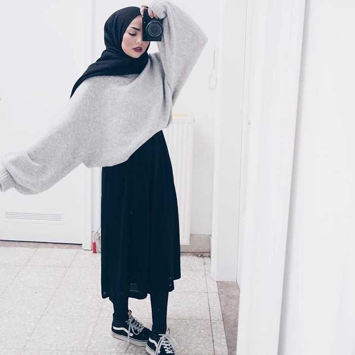 style hijab dengan sweater rajut gallery islami terbaru